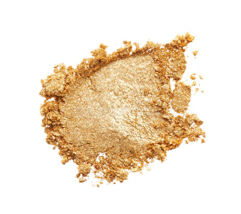 Beschaffenheit des Goldlidschattens lokalisiert auf Weiß stockbild