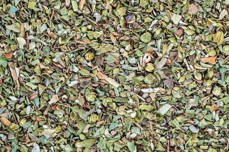 Beschaffenheit des Grüns würzt Oreganomakro, große Gewürzbrüche stockfoto