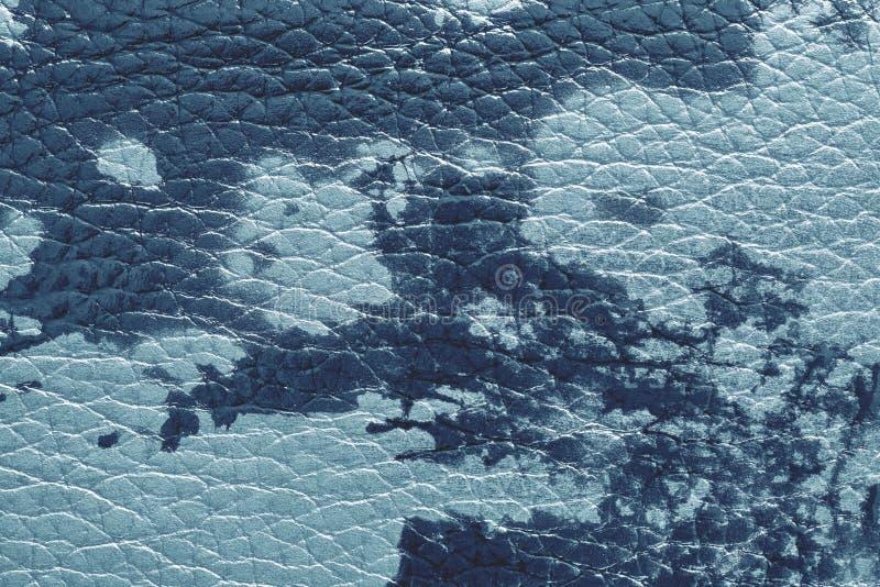 Beschaffenheit des natürlichen ledernen materiellen blauen Tones stockfoto