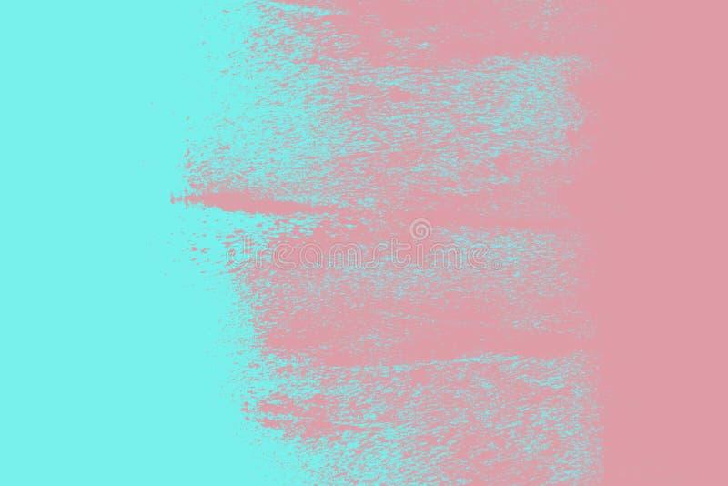 Beschaffenheit des Rosas und abstrakte des Hintergrundes der blauen Farbe mit Schmutzbürstenanschlägen stock abbildung