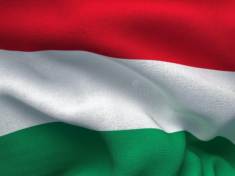 Beschaffenheit eines Gewebes mit dem Bild der Flagge von Ungarn, bewegend in den Wind wellenartig stock abbildung