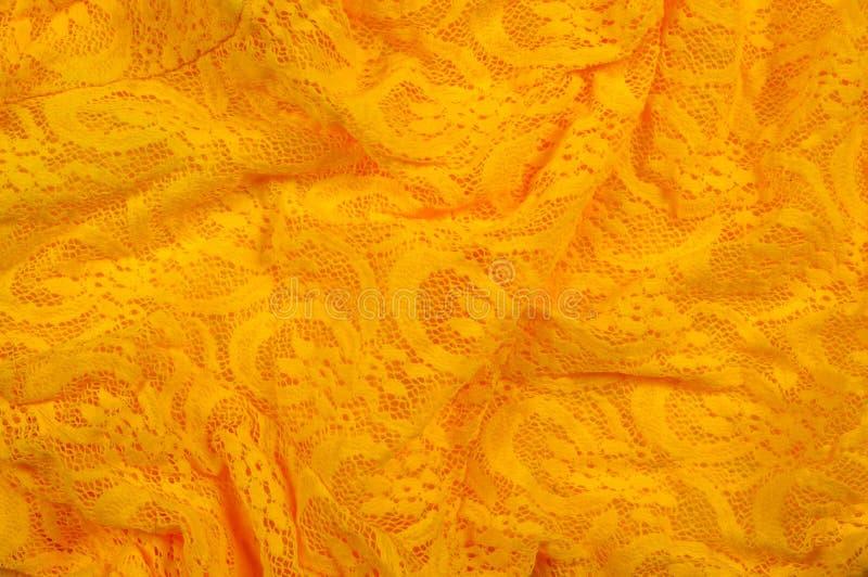 Beschaffenheit, Gewebe, Hintergrund Lacy Yellow-Gewebe, Spitze Ein dünnes OP stockfoto
