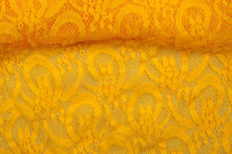 Beschaffenheit, Gewebe, Hintergrund Lacy Yellow-Gewebe, Spitze Ein dünnes OP stockbilder