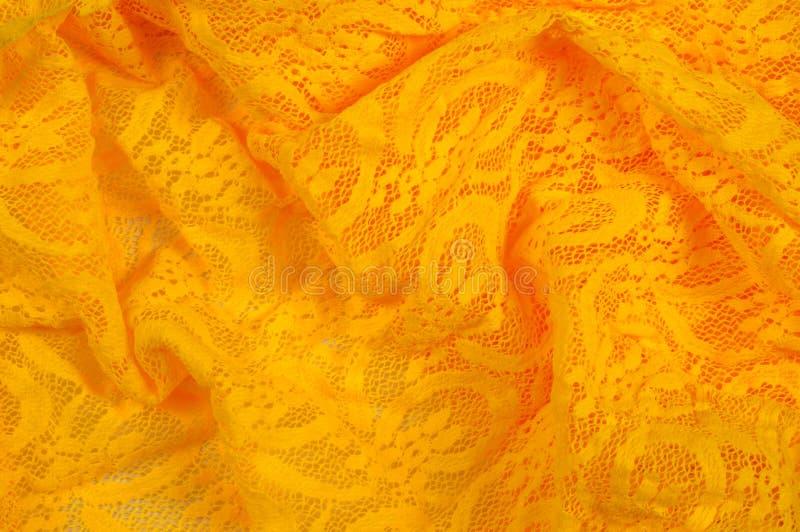 Beschaffenheit, Gewebe, Hintergrund Lacy Yellow-Gewebe, Spitze Ein dünnes OP stockfotografie