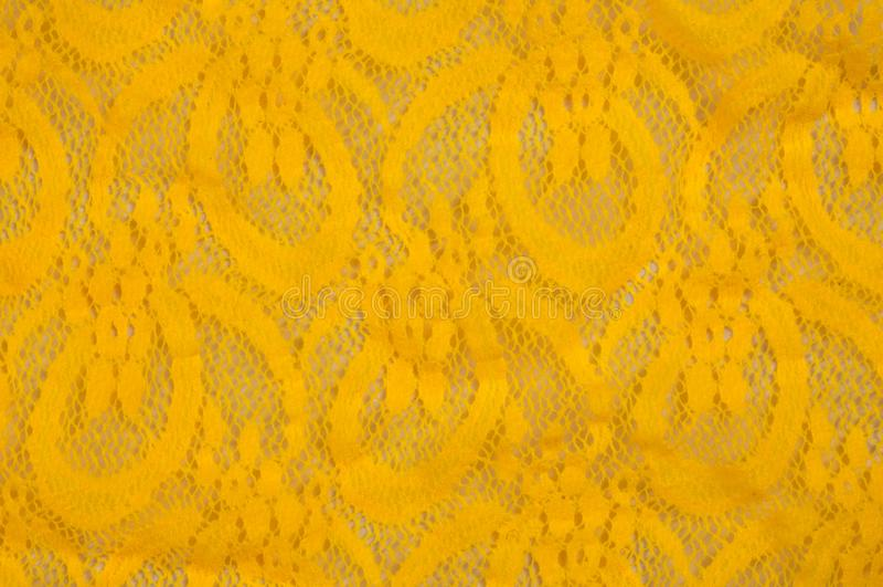 Beschaffenheit, Gewebe, Hintergrund Lacy Yellow-Gewebe, Spitze Ein dünnes OP stockbild