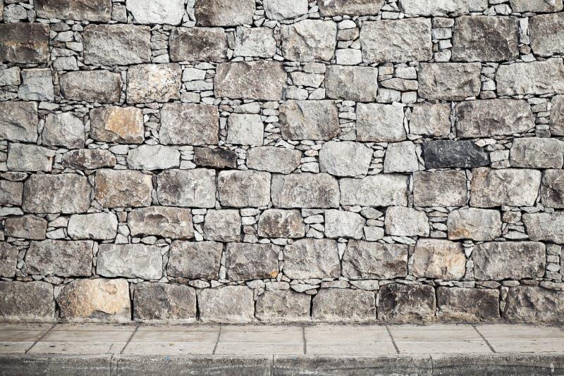 Beschaffenheit, graue Steinwand und Boden Tiling stockfotografie