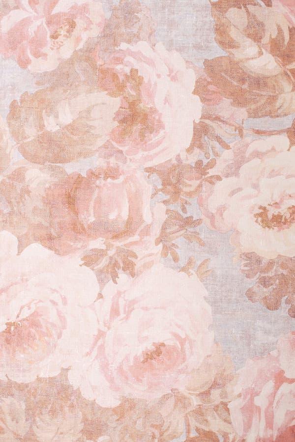 Beschaffenheit, Hintergrund, Muster Silk vorzügliche Farben des Gewebes mit Pfingstrosen Kohl Rose Floral Decorator Fabric - Pfin stock abbildung
