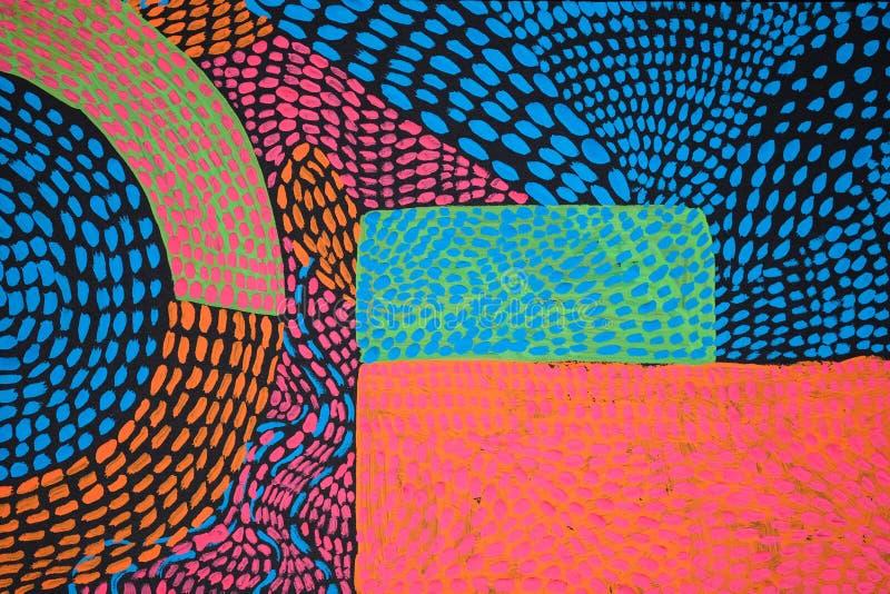 Beschaffenheit, Hintergrund und buntes Bild einer ursprünglichen abstrakten Malerei lizenzfreie abbildung