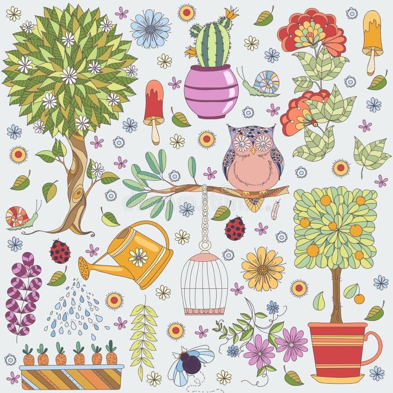 Beschaffenheit mit Blumen, Obstbaum, blühendem Baum, Eule und Insekten lizenzfreie abbildung