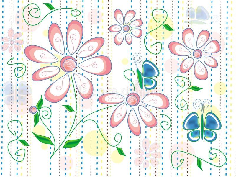 Beschaffenheit mit Frühlingsblumen und blauen Schmetterlingen auf weißem Hintergrund mit den braunen, blauen und gelben Linien lizenzfreie abbildung
