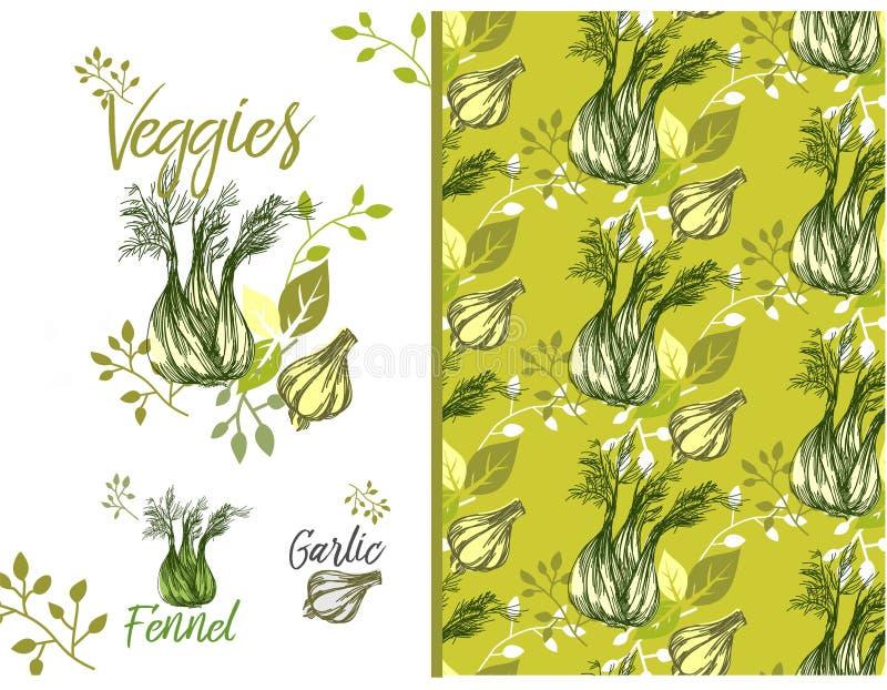 Beschaffenheit mit Gemüse, Fenchel, Knoblauch, Blätter, Niederlassungen stock abbildung