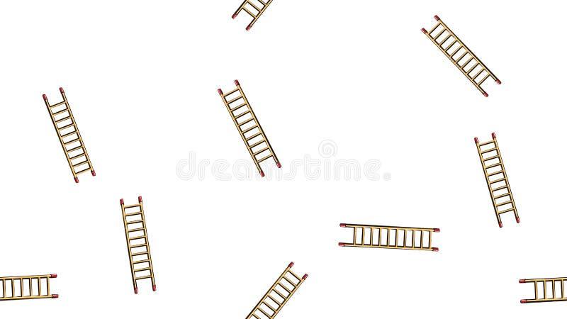 Beschaffenheit, nahtloses abstraktes Muster des Errichtens der h?lzernen Treppe Werkzeug, zum des Hauses auf einem wei?en Hinterg vektor abbildung