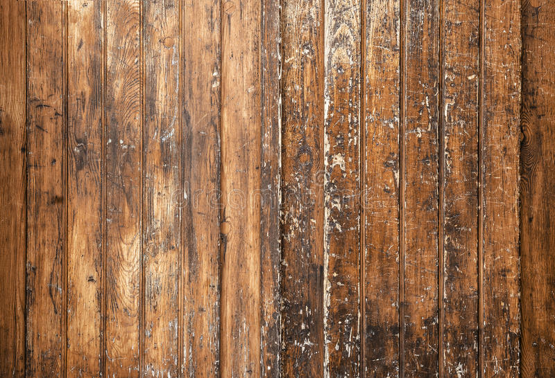Beschaffenheit von braunen alten hölzernen Wänden mit Kratzern stockbild