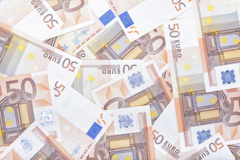 Beschaffenheit von fünfzig Eurobanknoten stockfotos