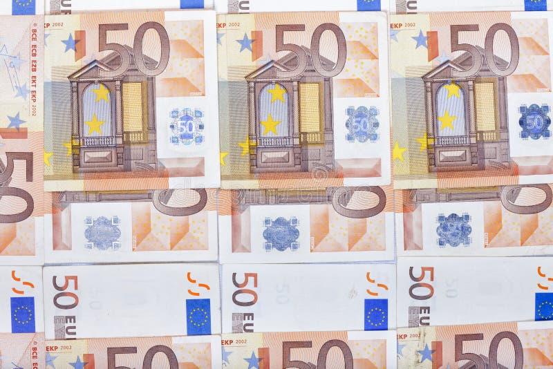 Beschaffenheit von fünfzig Eurorechnungen stockbild