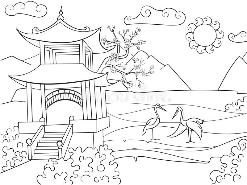 Beschaffenheit von Japan-Malbuch für Kinderkarikatur-Vektorillustration stock abbildung