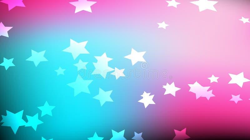 Beschaffenheit von schönen festlichen fünfeckigen kosmischen magischen mehrfarbigen farbigen hellen bunten galaktischen Sternen D stock abbildung