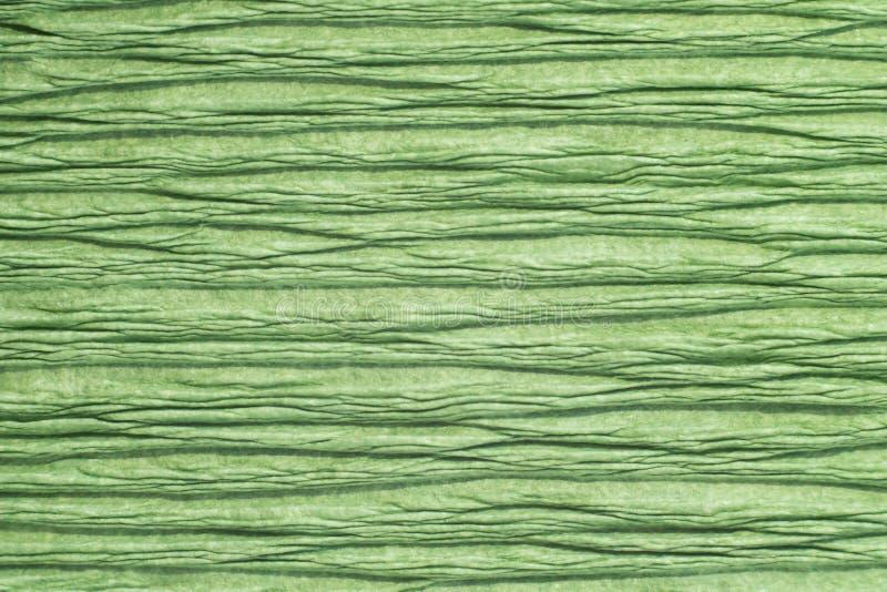 Beschaffenheit von zerknittert knitterte dekoratives Grünbuch stock abbildung