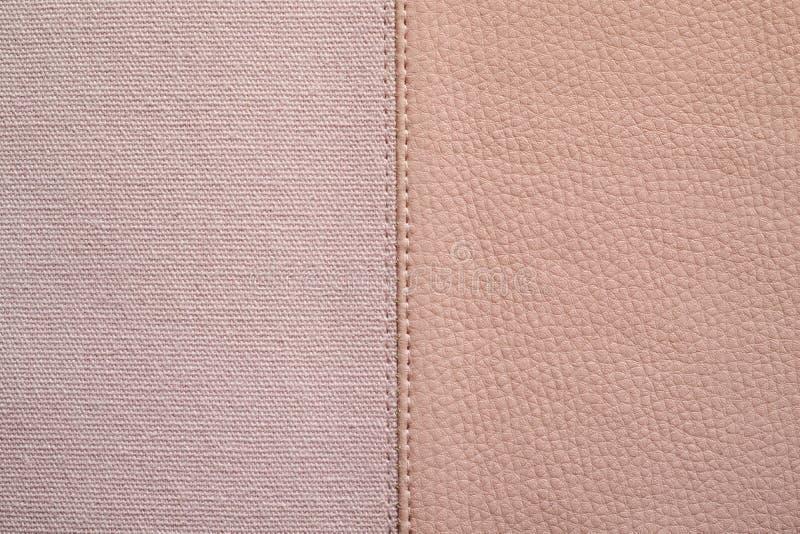 Beschaffenheiten der rosa Farbe vom Gewebe und vom Leder stockfotos