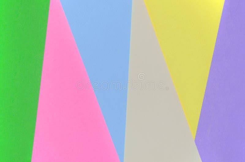 Beschaffenheitshintergrund von Modepastellfarben Rosa-, violette, Gelbe, Grüne, Beige und Blauegeometrische Musterpapiere minimal lizenzfreie stockfotografie