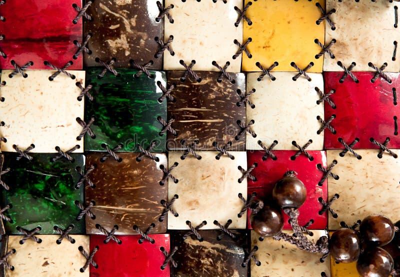 Beschaffenheitsmosaikkokosnu? Nah wird der Dekor von nat?rlichen eco Materialien gemacht Palme-Faserbarkenbeschaffenheit mit Seil stockfoto