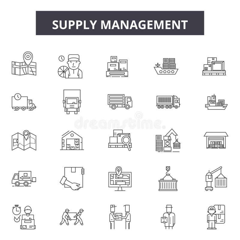 Beschaffungsmanagementlinie Ikonen, Zeichen, Vektorsatz, Entwurfsillustrationskonzept stock abbildung