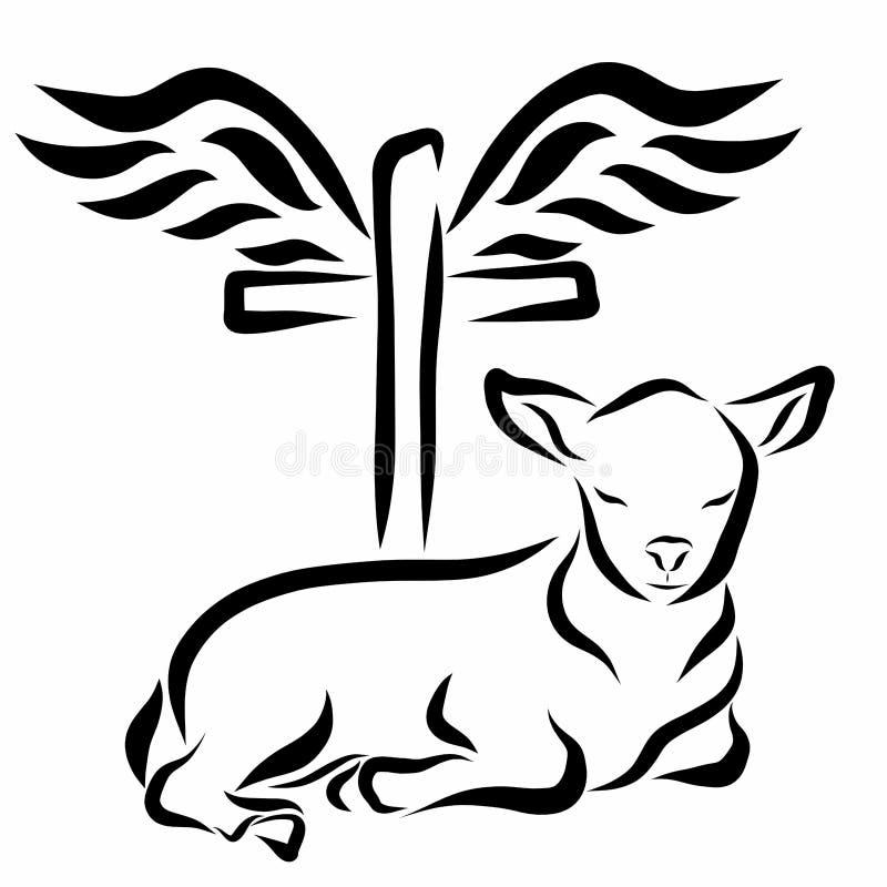 Bescheiden lam, kruis en vleugels vector illustratie