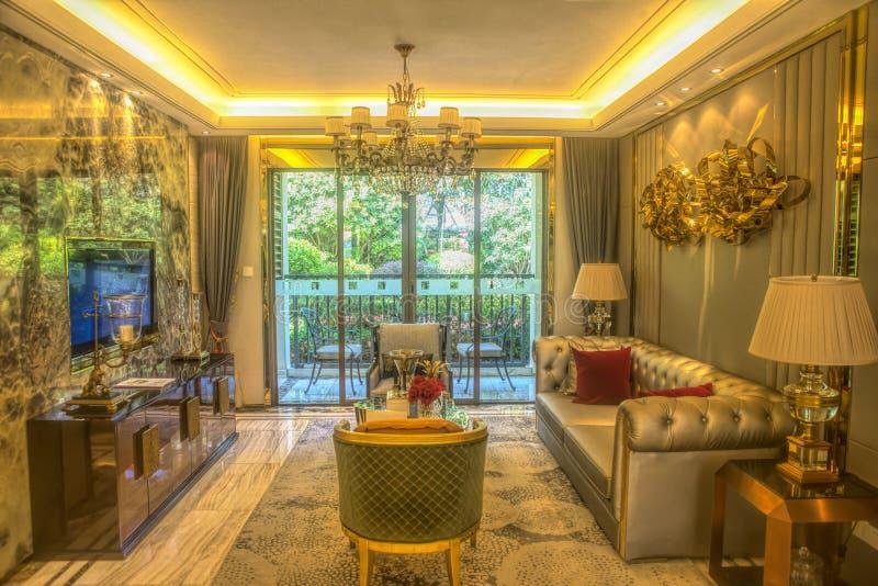 Bescheiden luxewoonkamer royalty-vrije stock afbeeldingen