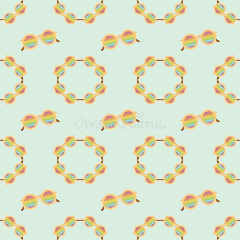 Bescheidene Sonnenbrille des nahtlosen Mustermode-Regenbogens stockfoto