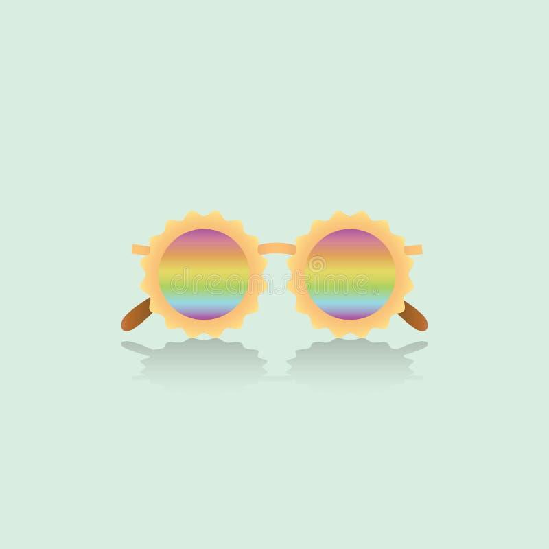 Bescheidene Spaßsonnenbrille des Moderegenbogens lizenzfreies stockfoto