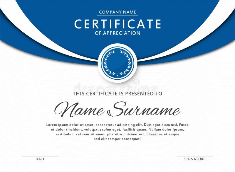 Bescheinigen Sie Schablone in der eleganten blauen Farbe mit Medaille und abstrakten Grenzen, Rahmen Zertifikat der Anerkennung,  lizenzfreie abbildung