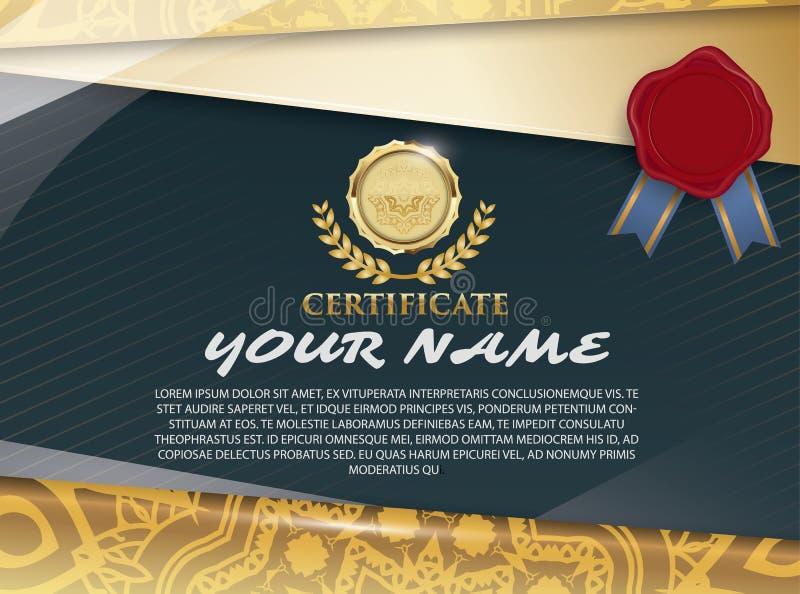 Bescheinigen Sie Schablone mit Luxusmuster, Diplom, Vektor illustra lizenzfreie abbildung