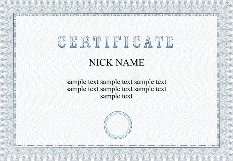 Bescheinigung, Diplom für Druck lizenzfreie stockbilder