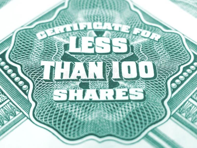 Bescheinigung für weniger als 100 Anteile stockfotografie