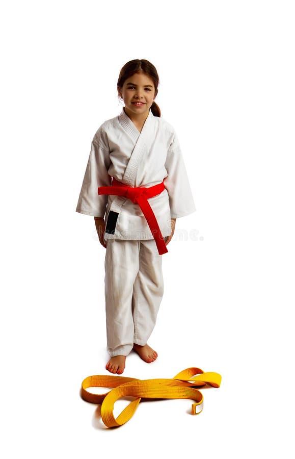 Bescheinigung von Karatemädchen stockfoto