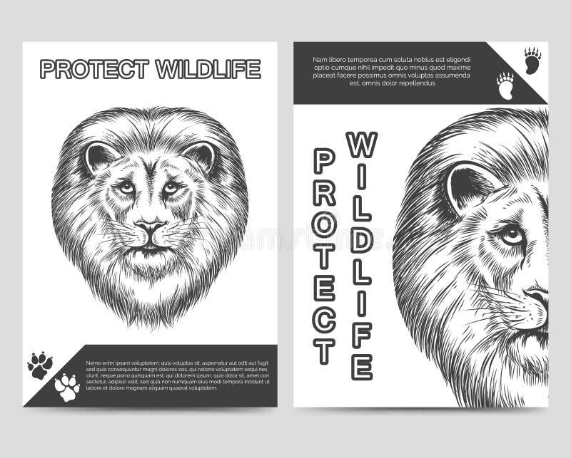 Bescherm aardbrochure met leeuw royalty-vrije illustratie