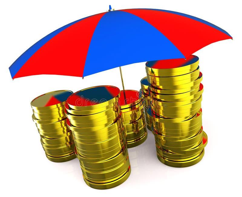 Bescherm Geld wijst op Beperkt en Beschermend investeer vector illustratie
