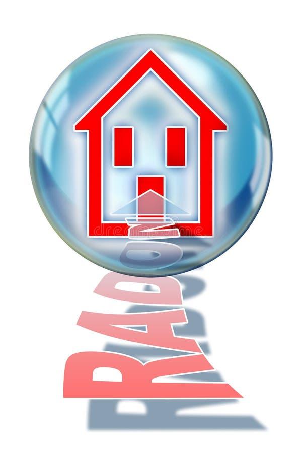 Bescherm uw huis tegen radongas - conceptenillustratie met een silhouet van een huis binnen een zeepbel vector illustratie