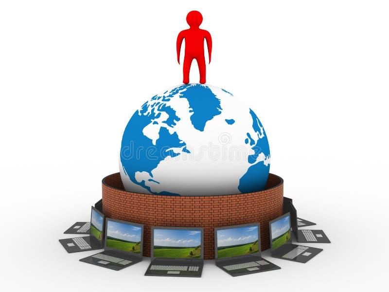 Beschermd mondiaal net Internet. royalty-vrije illustratie