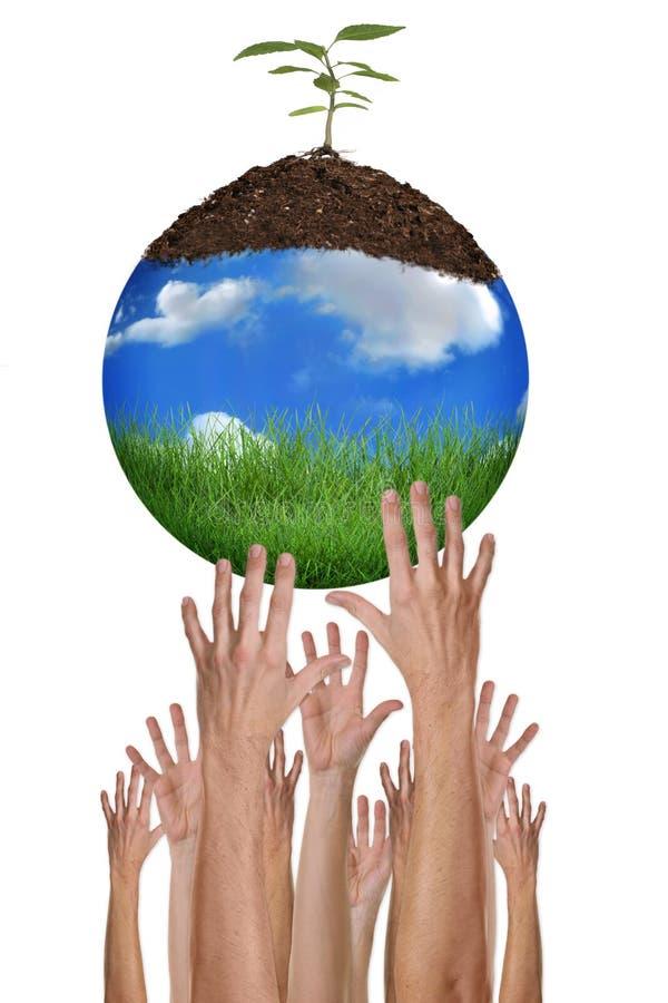 Beschermen van het Milieu samen is Mogelijk stock afbeeldingen