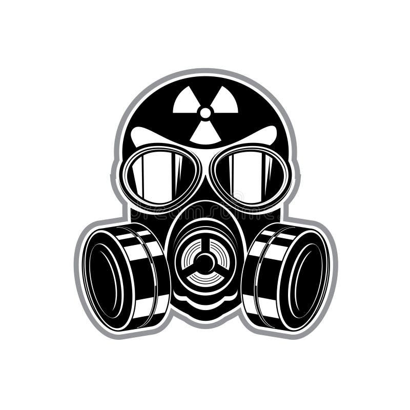 Beschermend kostuum, gasmasker met lenzen en teken van stralingsgevaar stock illustratie