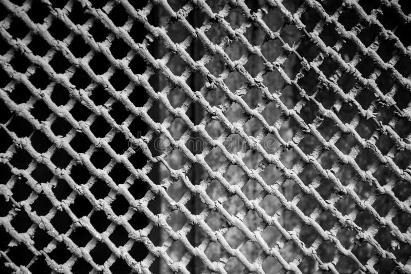 Beschermend metaalgratings of traliewerk op het kelderverdiepingsvenster royalty-vrije stock afbeelding
