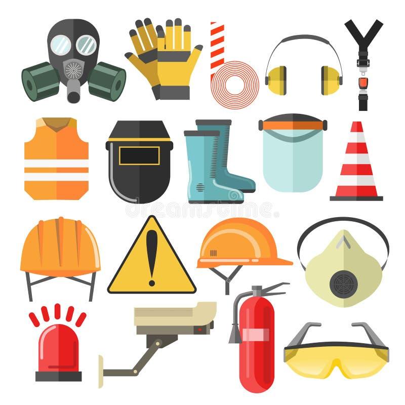 Beschermend toestel en materiaalmasker en helmbeschermende brillen en ademhalingsapparaat stock illustratie