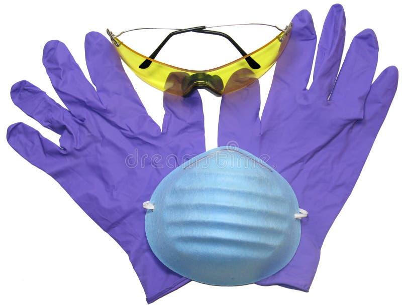 Beschermende brillen, Masker en Handschoenen royalty-vrije stock afbeelding