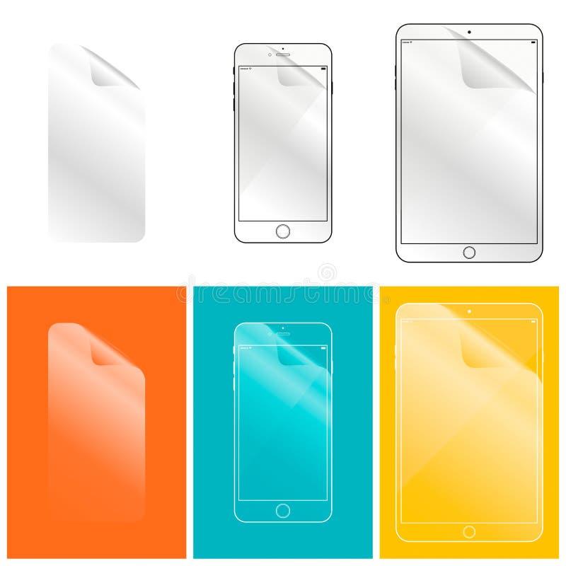 Beschermende film voor het uw telefoon en tabletcomputerscherm stock foto