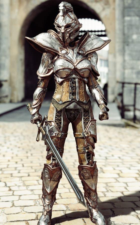 Beschermer van de poort Vrouwelijke volledig gepantserde ridder bevindende wacht stock illustratie