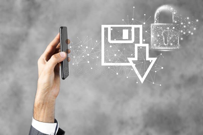 Bescherming Download gegevens om bedrijfstechnologie op te slaan stock foto's