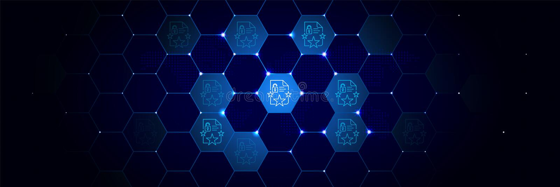 Bescherming, nalevingspictogram tegen Algemeen die gegevensproject in technologisch wordt geplaatst vector illustratie