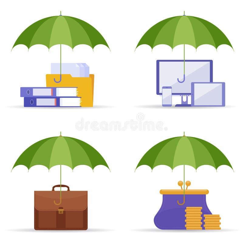 Bescherming van gegevens, informatie en geldconcept vector vlak IL royalty-vrije illustratie