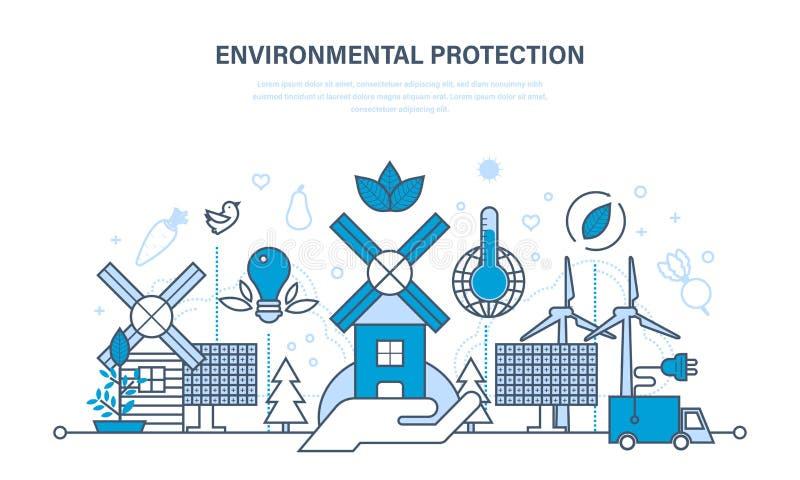 Bescherming van milieu, gebruik van natuurlijke schone producten en middelen royalty-vrije illustratie